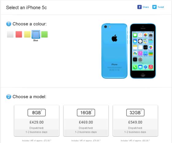 アップル低容量iPhone5C 8GBの販売地域を拡大