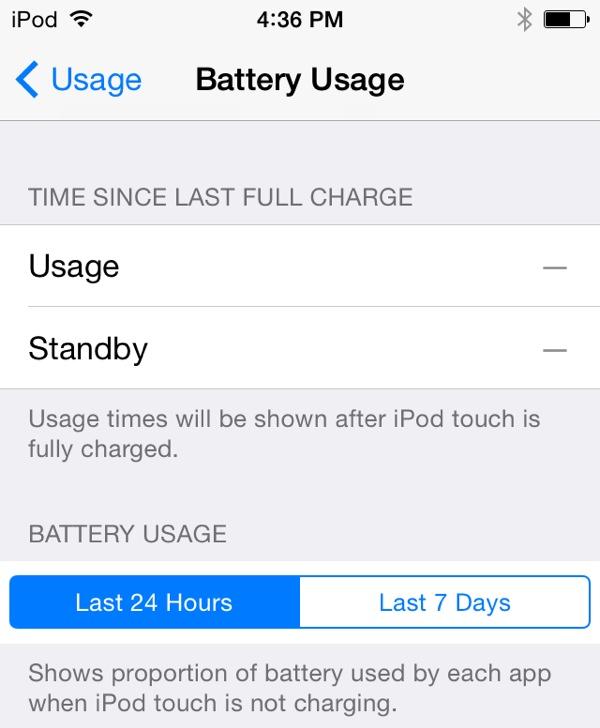 iOS8は1日/1週間単位でアプリ毎にバッテリー消費を計測します
