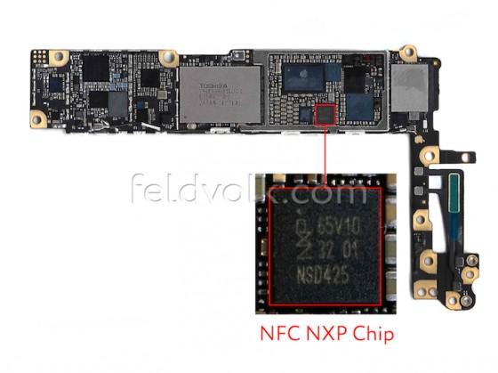 iphone6のマザーボードにNFCチップが