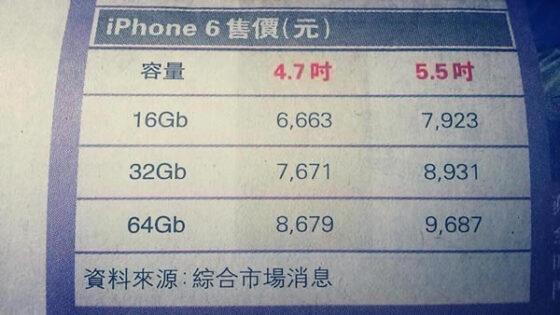 香港で流出したiphone6価格表