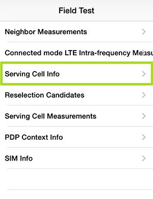 周波数を確認するには、Serving Cell Infoを選択