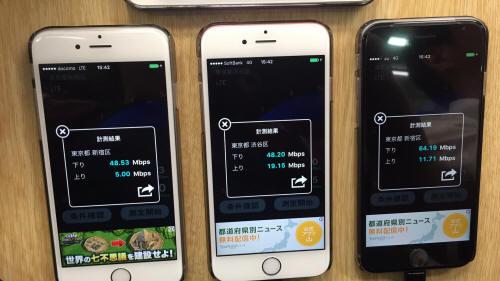 最新iPhone6Sで山手線駅構内の通信速度を計測