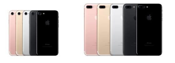 左:iPhone7(4.7インチ) 右:iPhone7 Plus(5.5インチ)