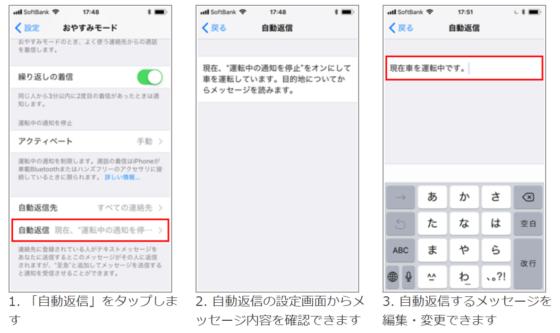 自動返信メッセージの編集画面