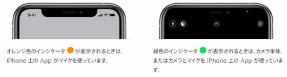 iphoneに緑色のインジケータ